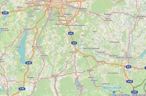 Karte Oberbayern Bayrischzell
