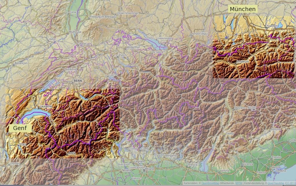 Karte Alpen - © OpenStreetMap-Mitwirkende