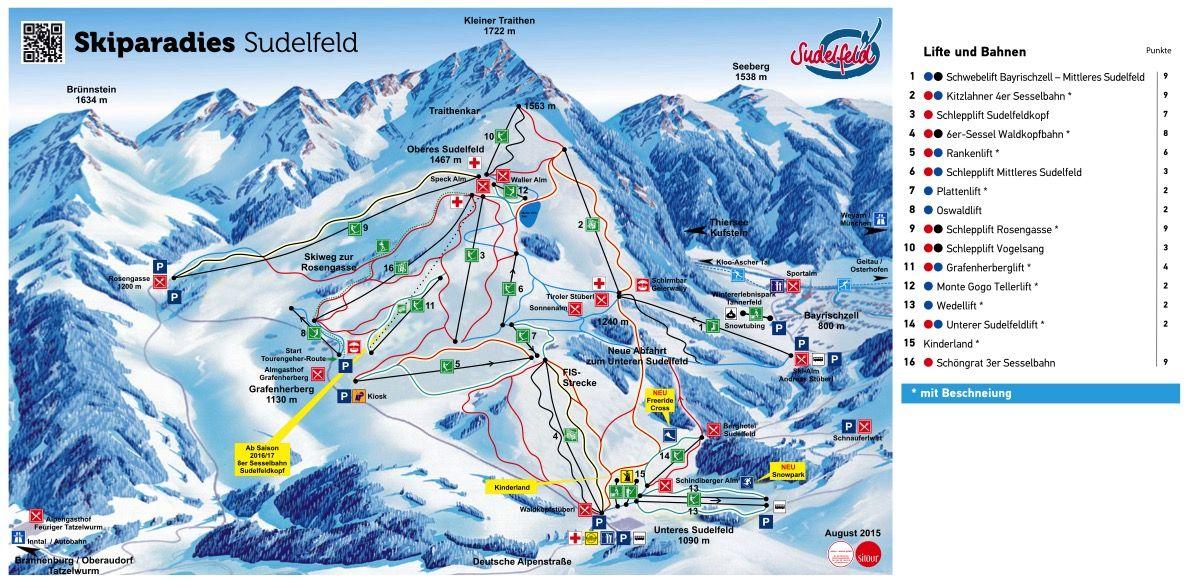 Pistenplan vom Skigebiet Sudelfeld 2015 - © Skiparadis Sudelfeld