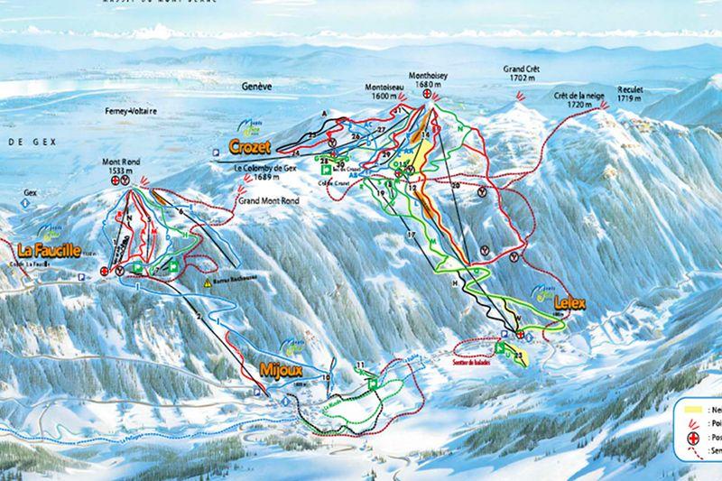 Skigebiet Crozet Lelex Pistenplan - © Monts Jura