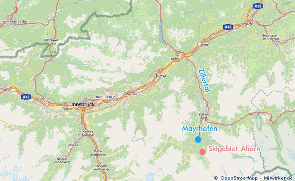 Karte Tirol Zillertal
